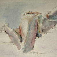 Watercolor nude landscape by Madeline Shea