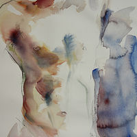 Watercolor torso with blue background by Madeline Shea