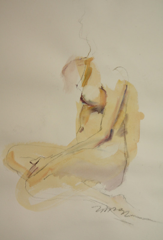 Watercolor yellow nude by Madeline Shea