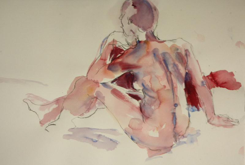 Watercolor nude in pink  by Madeline Shea
