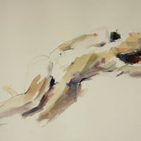Watercolor purple and green nude by Madeline Shea
