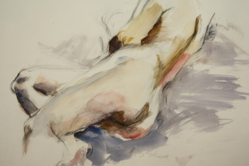 Watercolor nude in orange and grey by Madeline Shea