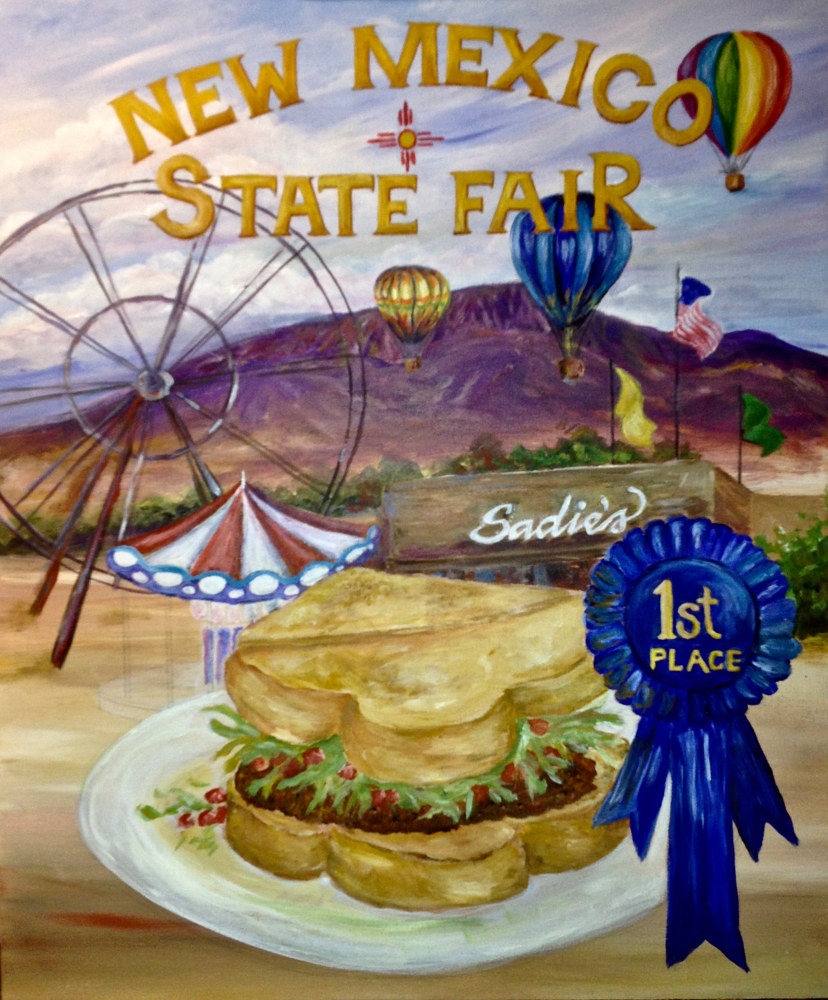 "Acrylic painting ""New Mexico State Fair"" (when in Progress--I somehow forgot to photograph when done!) by Linnie (Victoria) Aikens Lindsay"