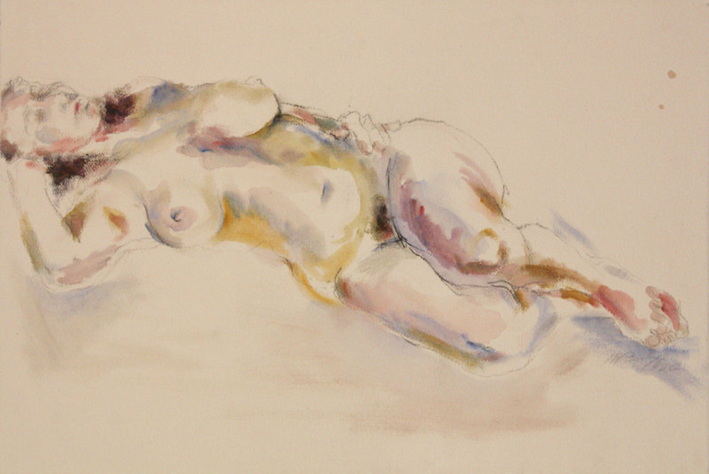Watercolor reclining nude by Madeline Shea
