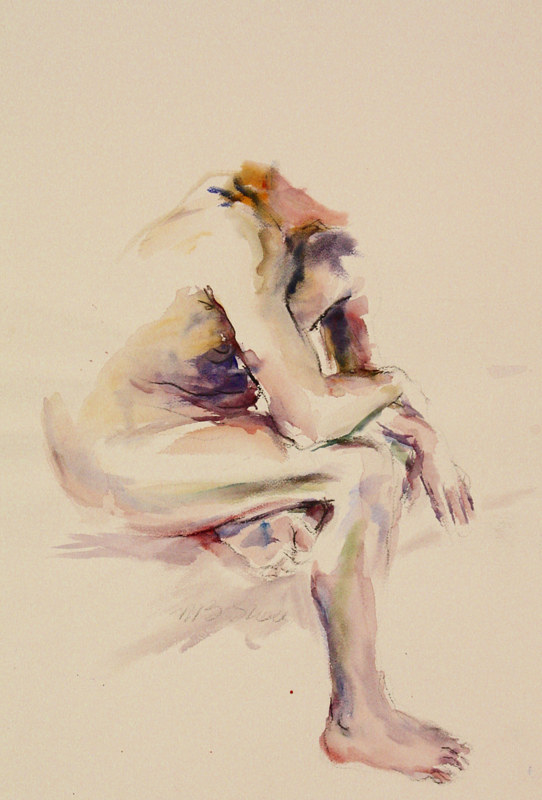 Watercolor sitting man by Madeline Shea