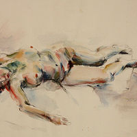 Watercolor sleeping nude by Madeline Shea