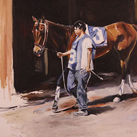 Oil painting track horse and groom by Madeline Shea