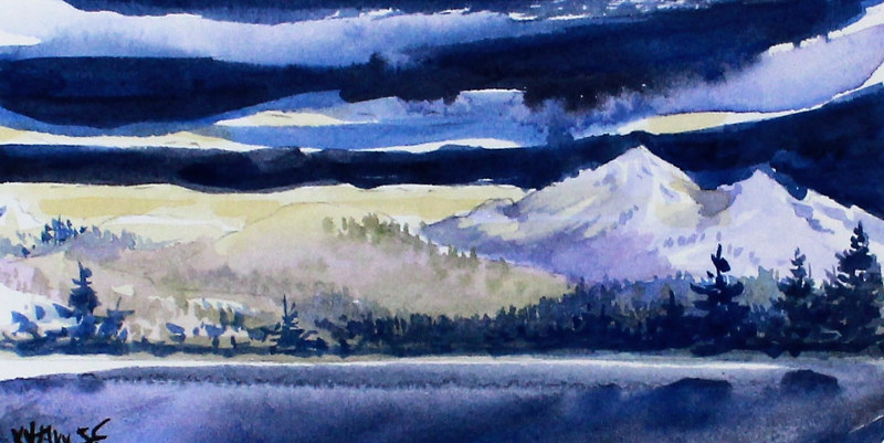 Watercolor Winter Evening #2 by Wanda Hawse