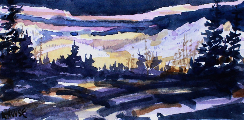 Watercolor Winter Evening #1 by Wanda Hawse