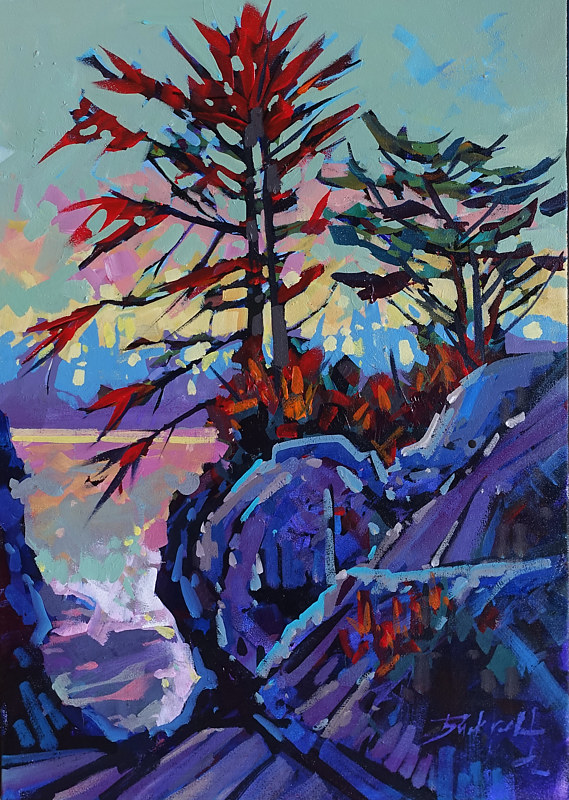 Along Pacific Coast Trail   Acrylic 18x24 2017 by Brian  Buckrell