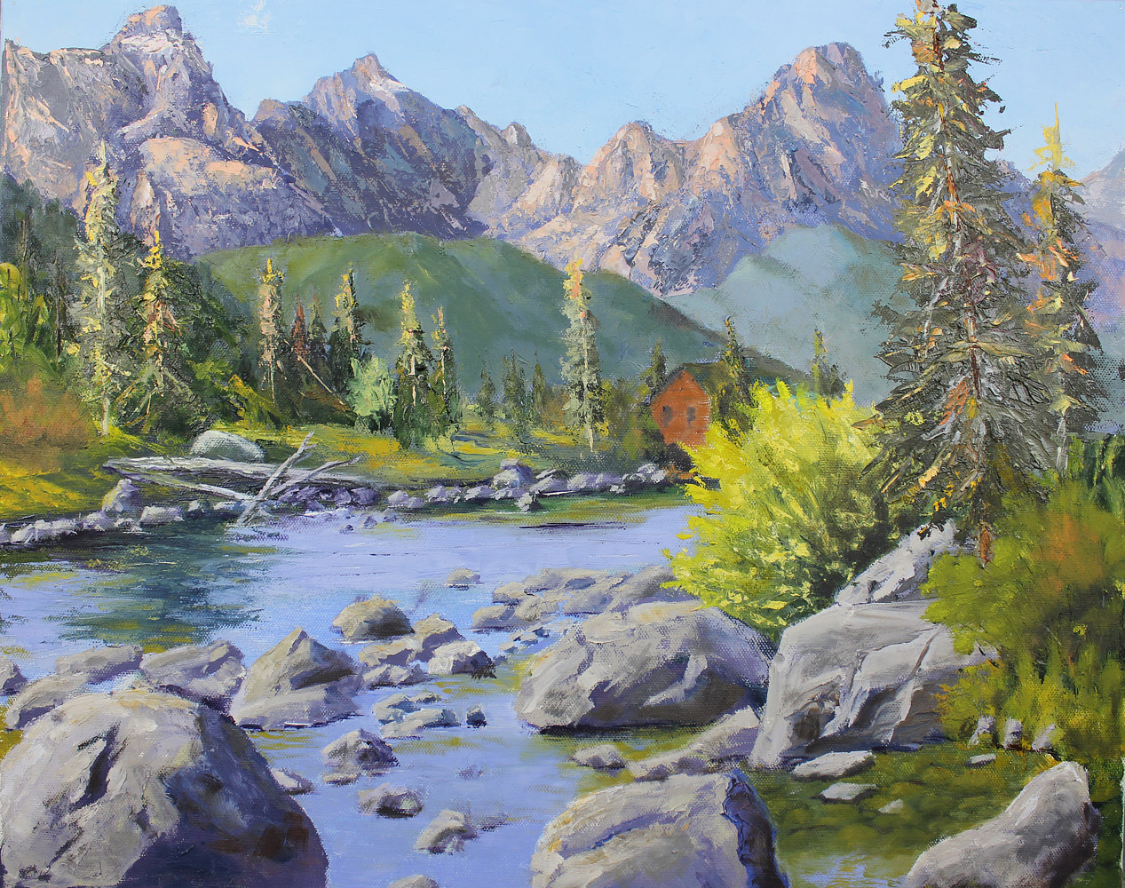 Oil painting Mountain Retreat by Bob Spille