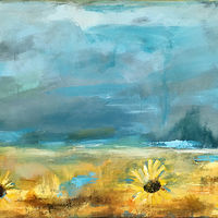 Acrylic painting Sunflower Fields by Drew Marin