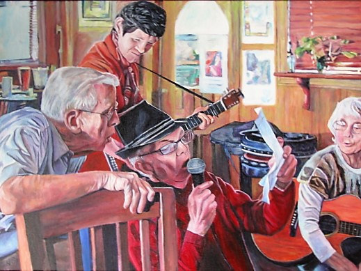 Acrylic painting The Sing-a-long by Nancy Sharp