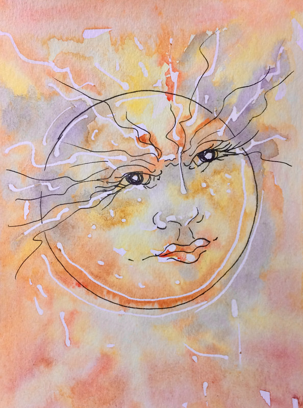 Watercolor Sizzling Sun by Karen Brodeur