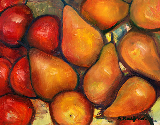 Oil painting Amy Kaufman, Pear Medley by Amy Kaufman