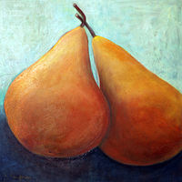 Oil painting Amy Kaufman, Pear Duo by Amy Kaufman