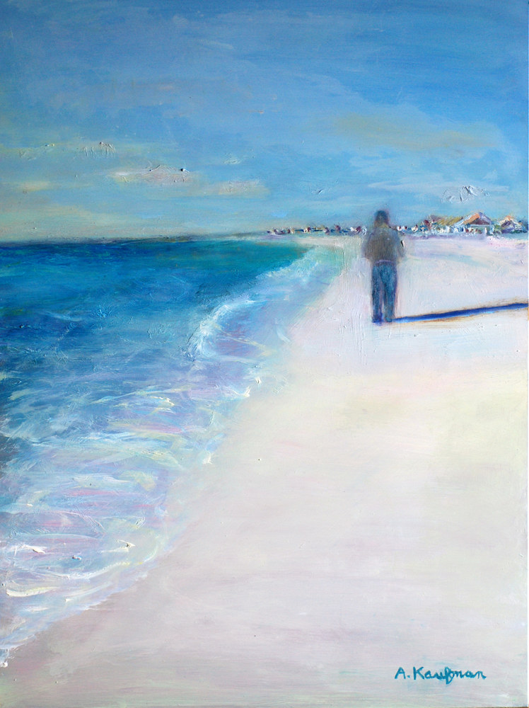 Oil painting Amy Kaufman, Walking on the Beach by Amy Kaufman