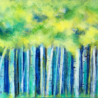 Acrylic painting Birches of Energy by Drew Marin