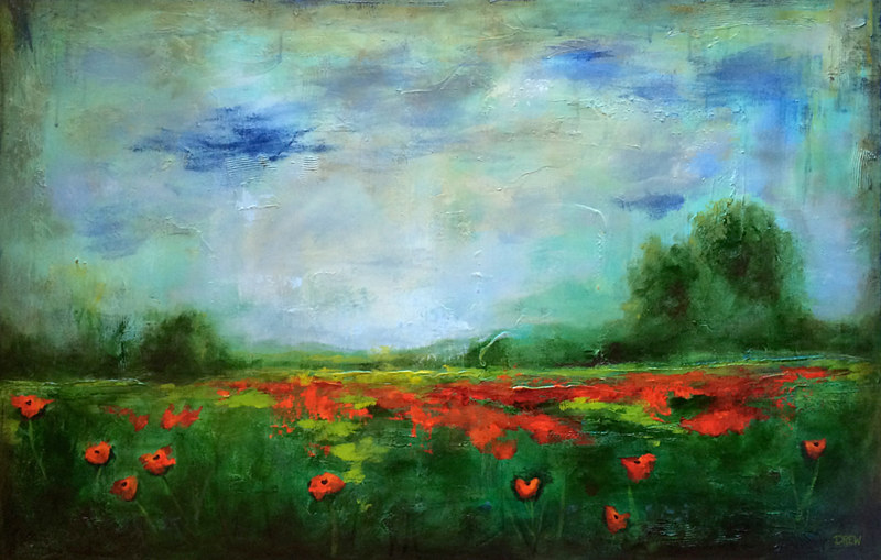 Acrylic painting Precious Poppies by Drew Marin