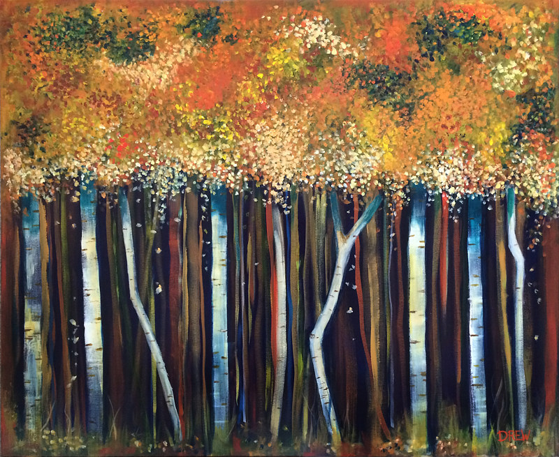 Acrylic painting Bob's Cinnamon Birches by Drew Marin