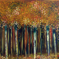 Acrylic painting  Cinnamon Birches by Drew Marin