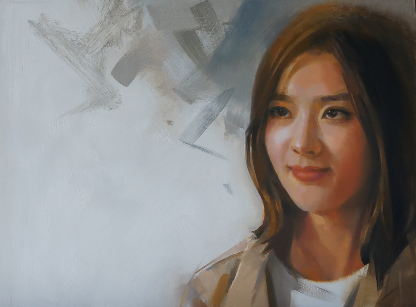 Oil painting a certain smile by Eunice Sim