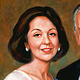 Oil painting Dr. Sam and Patricia Shaheen/Temple Theatre, Saginaw by Kim Fujiwara