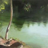 Oil painting Crawford Lake by Eunice Sim