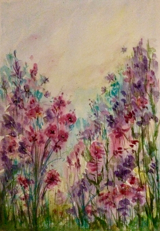Watercolor Garden in Spring by Karen Brodeur