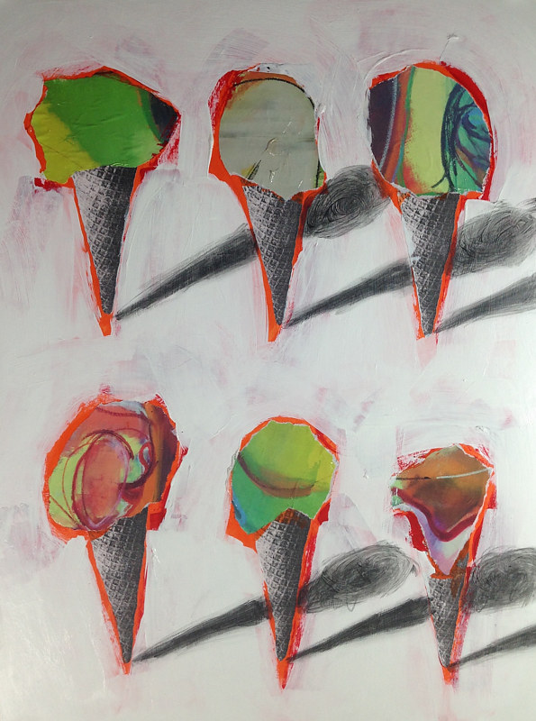 Acrylic painting Six Cones 10 by Deirdre  Hofer