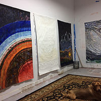 Oil painting Four Verticals in the Studio.   by Edward Miller
