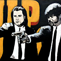 Acrylic painting PULP FICTION by Carly Jaye Smith
