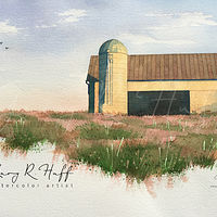 Painting Ducks Flying Over Barn by Gary Huff