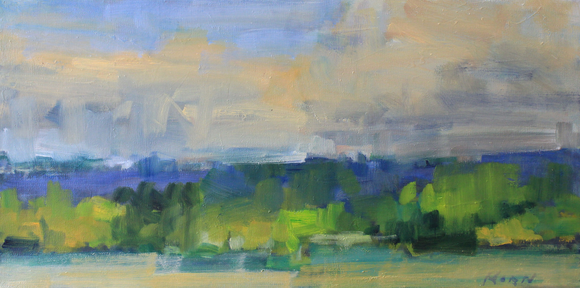 "Evening Clouds on Oakgreen, Oil On Canvas, 16"" x 20"" by Susan Horn"