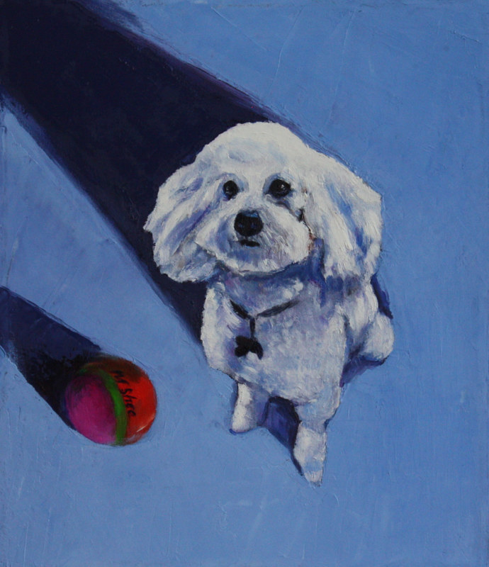 Oil painting guilty dog  by Madeline Shea