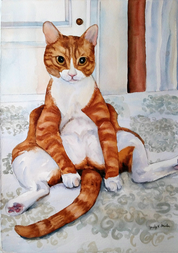 Painting Funny Cat by Judy Fowler
