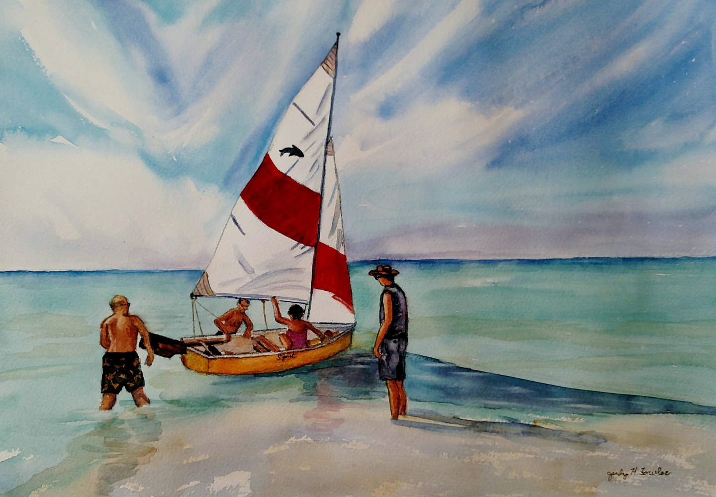 Watercolor Sailing by Judy Fowler