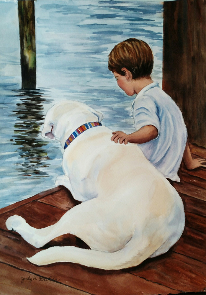 Watercolor A Boy and his dog  by Judy Fowler