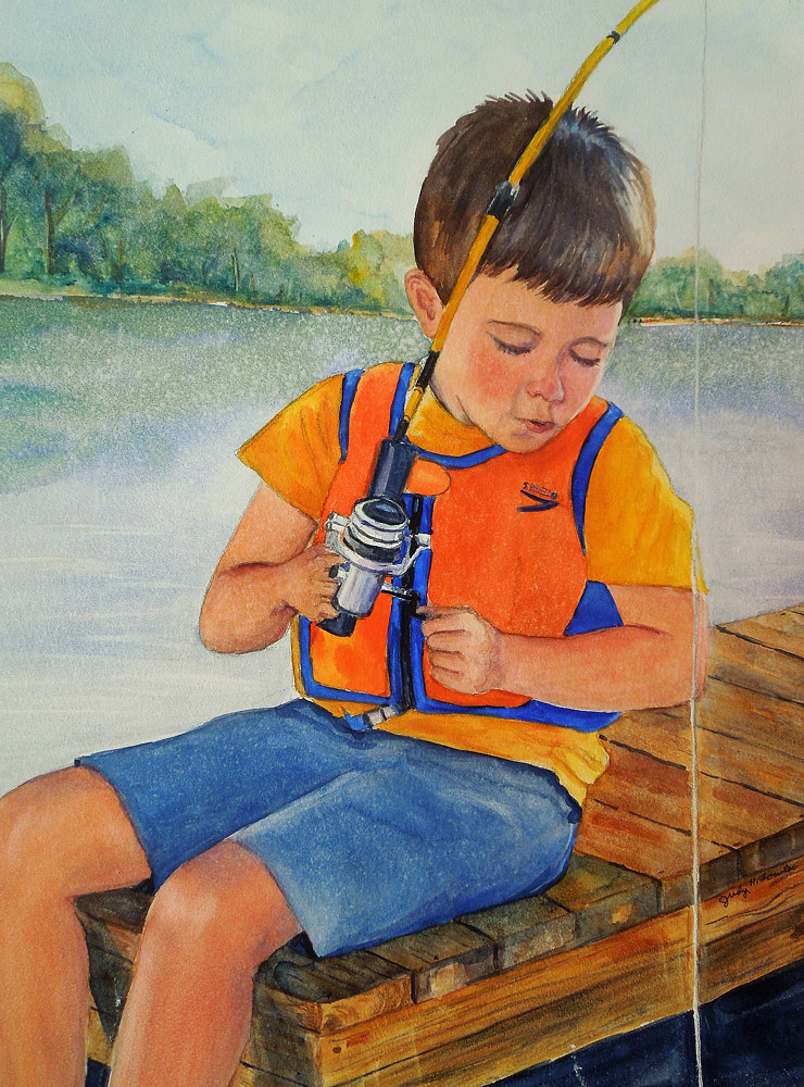Watercolor Grandson fishing by Judy Fowler