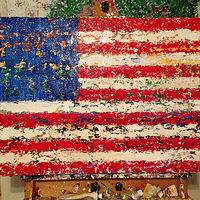 Acrylic painting unity flag by Jeffrey Newman