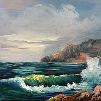 Oil painting Miniature Seascape by Barbara Haviland
