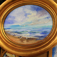 Oil painting Oval Seascape  by Barbara Haviland