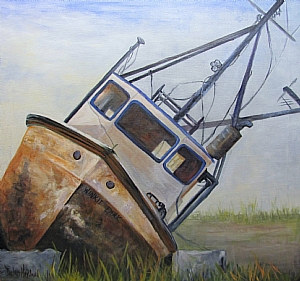 Oil painting Shipwrecked Ike  Barbara Haviland by Barbara Haviland