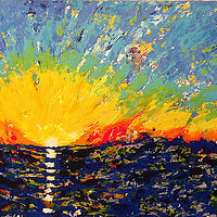 Acrylic painting pacific.ocean.sunrise by Jeffrey Newman