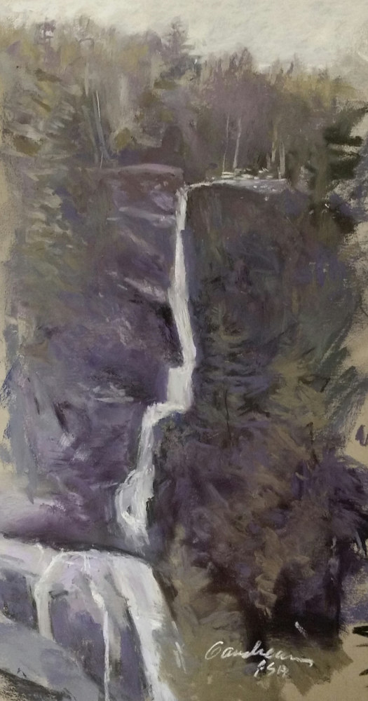 Falls in April matted, framed 17x10 pastel  by Michael  Gaudreau