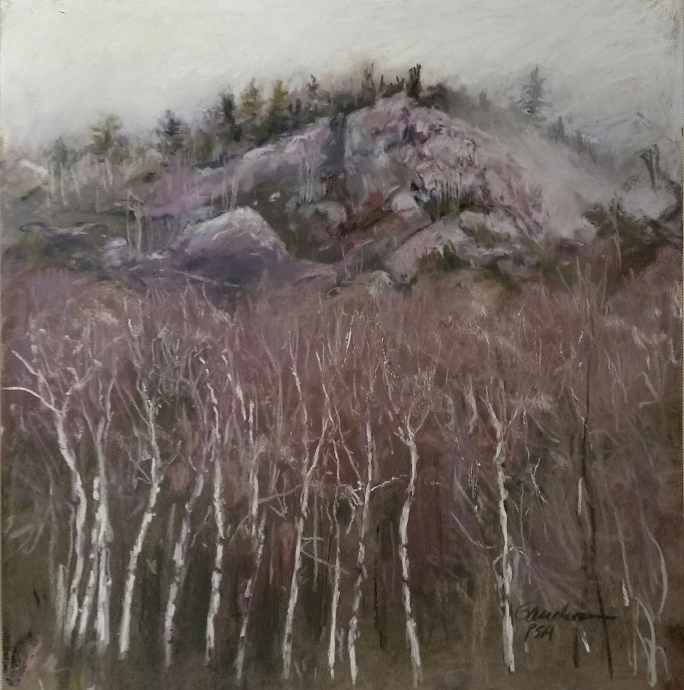 Painting Foggy Mt Breakdown pastel 12x12 matted, framed  by Michael  Gaudreau