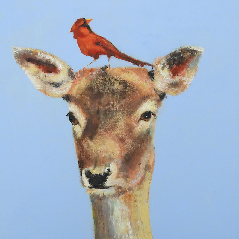 Oil painting Deercardinal, 2017 by Edith dora Rey