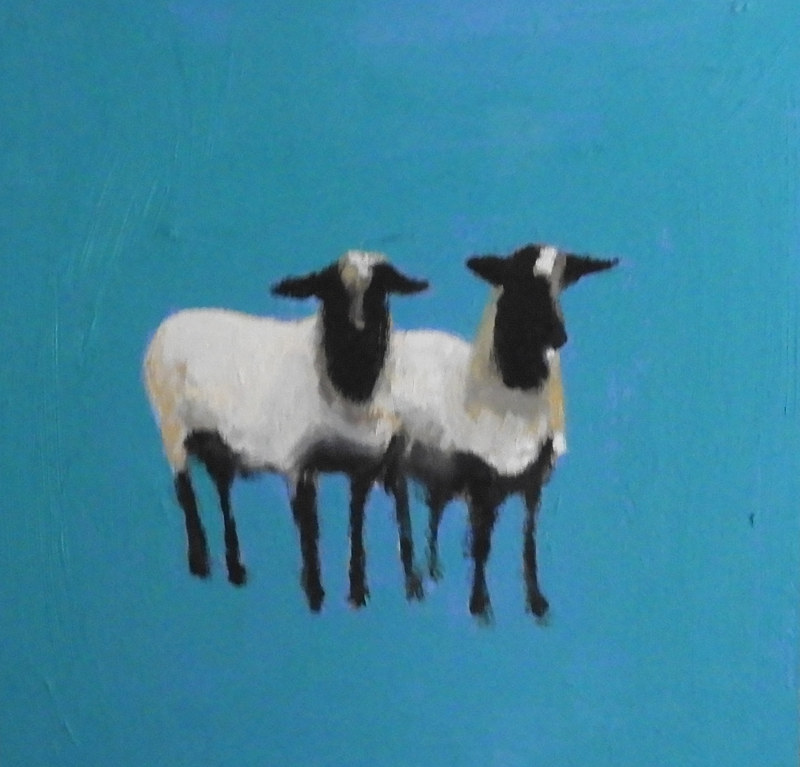 Oil painting Twinsheep, 2017 by Edith dora Rey