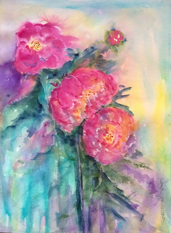 Watercolor Passionate about Peonies by Karen Brodeur