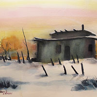 Watercolor Pueblo in WInter by Steve Latimer